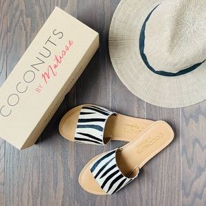 NEW! Cabana Cowhide Leather Slide in Zebra Matisse